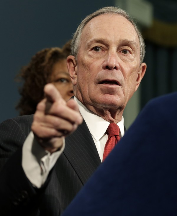 New York City Mayor Michael Bloomberg speaks to the media during a news conference in City Hall in New York, Monday, Dec. 17, 2012. Bloomberg and dozens of shooting survivors and victims' relatives are calling on Congress and President Barack Obama to tighten gun laws and enforcement.