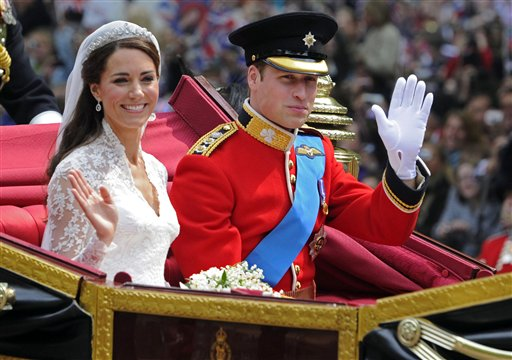 In this Friday April 29, 2011 file photo Britain's Prince William and his bride Kate, Duchess of Cambridge, leave Westminster Abbey, London, following their wedding.  The Duke and Duchess of Cambridge are pleased to announce that the Duchess of Cambridge is expecting a baby, St James's Palace officially announced Monday, Dec. 3, 2012.