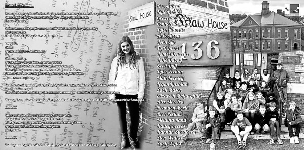 "The inside jacket cover for the ""Home is a Feeling"" CD features images of singer Lily Muscatell and Leonard Middle School students sitting on the Shaw House steps in Bangor. The students study music appreciation at the school."
