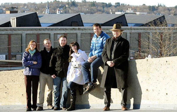 Grow L+A members (from left) Sara Goodrich, Ryan Rhoades, Kevin Morissette, Gabrielle Russell, James Mangrum and Noel Smith have taken on a project they have dubbed Five2Farm, hoping to save Bates Mill No. 5 in downtown Lewiston.