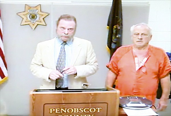 From left, Defense Attorney Dennis Hamrick of Bangor represents Clarence Cote, right, who was extradicted from Nebraska last month, made his first appearance at the Penobscot Judicial Center for the alleged sexual assault of an 8-year-old girl in 1990.