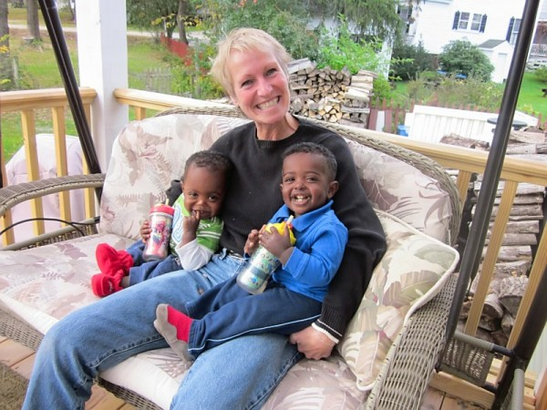 Carol Smith is pictured with her two adopted grandchildren.