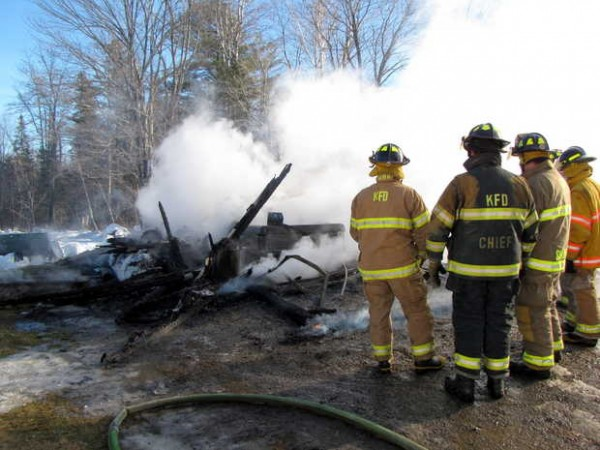 A two-car garage, a truck, a generator and snow blowers were destroyed by fire Wednesday at 791 Foster Hill Road in Freeman Township.