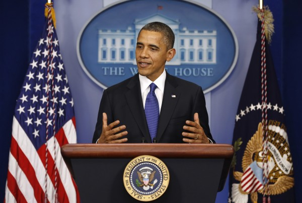 U.S. President Barack Obama speaks about the fiscal cliff at the White House in Washington on Friday, Dec. 21, 2012.