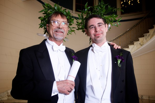 Steven Jones and Jamous Lizotte celebrate their nuptials at Portland City Hall Saturday morning.