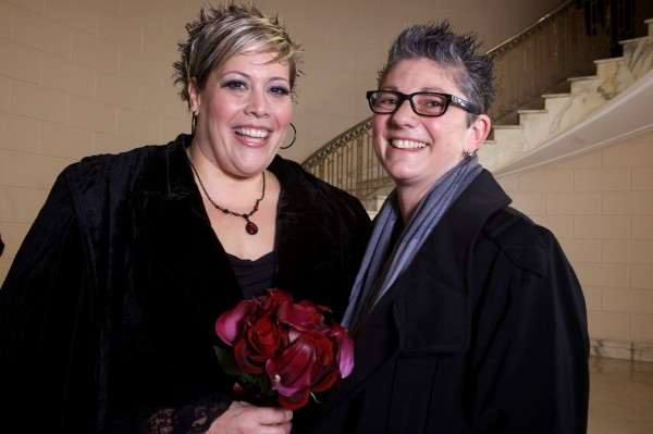 Lisa Gorney and Donna Galluzzo arrived for their wedding at Portland City Hall in a limo Saturday morning.