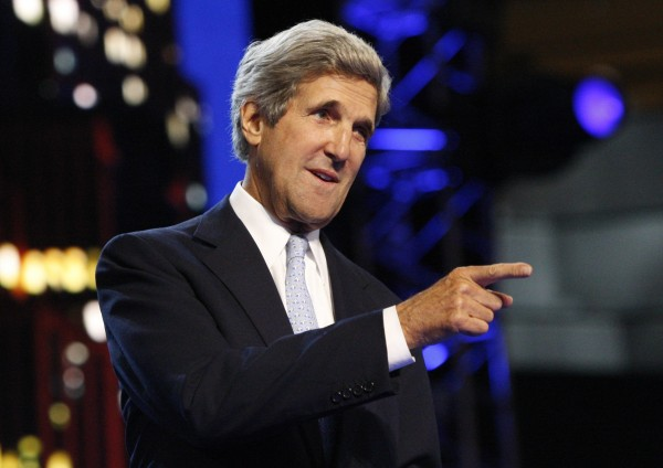 U.S. Sen. John Kerry tours the stage area ahead of the second session of the Democratic National Convention in Charlotte, North Carolina in this Sept. 5, 2012 file photograph.