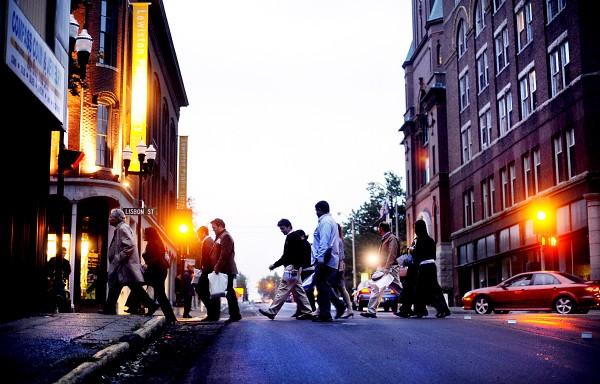 A walking tour in downtown Lewiston, one of Maine's three metropolitan areas.