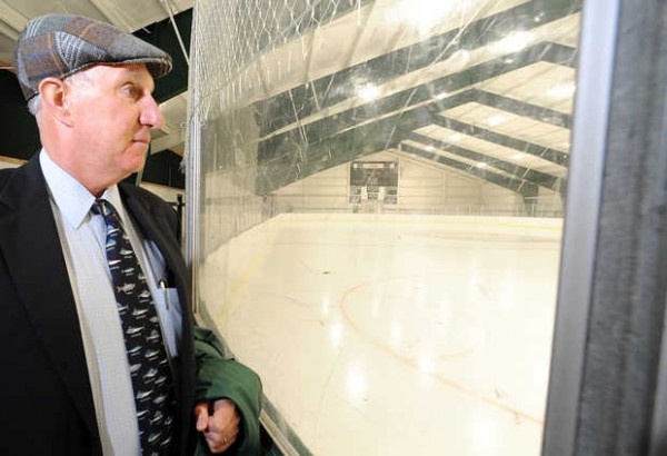 Hebron Academy Head of School John King looks out on to the ice at Robinson Arena on the campus. The arena is the subject of a tax issue that has threatened the public use of school facilities across the state.