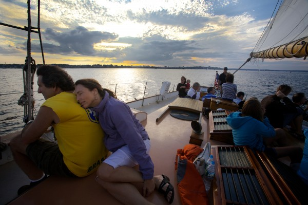 Pam and Alex Kemp enjoy their ninth sail with the Portland Schooner Co. on Aug. 13, 2012, aboard the Wendameen on Casco Bay.