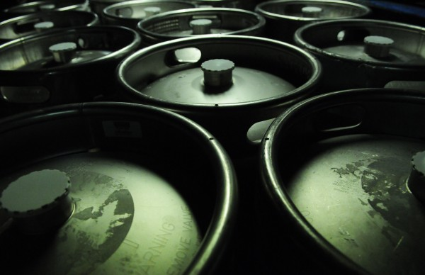 Kegs of beer sit in the basement of the Sea Dog Brewing Co. in Bangor on June 27, 2012, during the brewery's grand opening of its new barrel room.