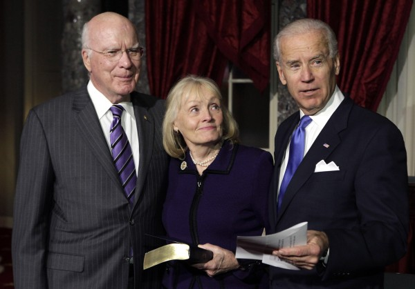 Sen. Patrick Leahy, D-Vt., (left) and his wife Marcelle stand with Vice President Joe Biden (right) after Leahy was sworn in as president pro tempore of the U.S. Senate on Capitol Hill in Washington on Tuesday, Dec. 18, 2012.
