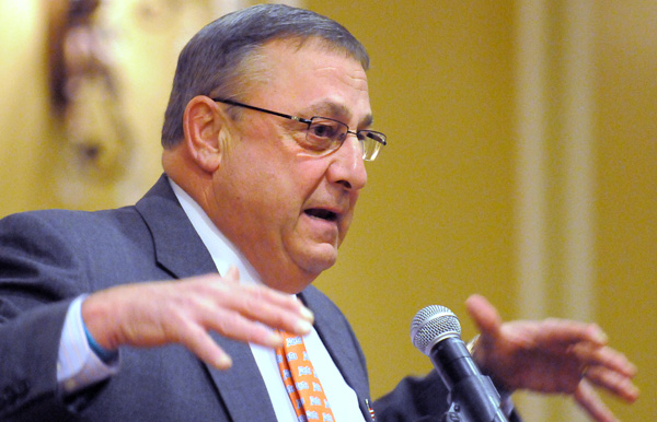 Gov. Paul LePage in Rockland on Saturday, March 3, 2012.