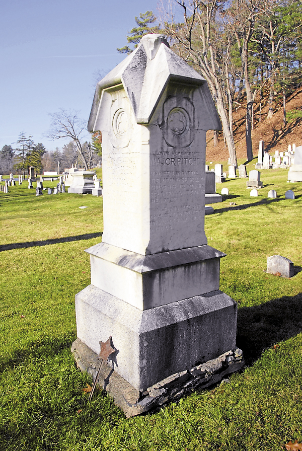 Among the names engraved on the Pitcher family monument at Mount Hope Cemetery in Bangor is that of Maj. William L. Pitcher, shot dead while fighting with the 4th Maine Infantry Regiment at Fredericksburg, Va. in mid-December 1862. His funeral, held on Dec. 26, drew Bangor notables and packed Norumbega Hall in downtown Bangor.