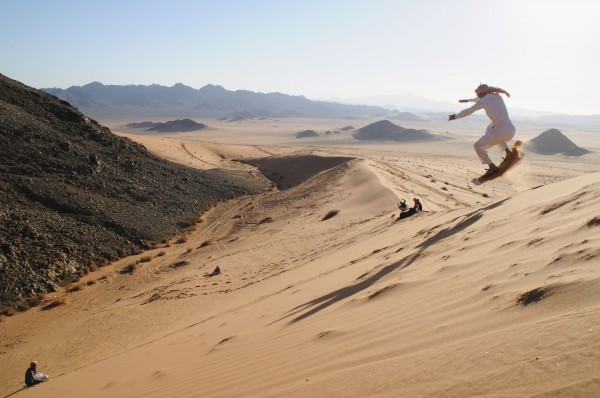 A man sand skis in the desert near Tabuk, Saudi Arabia, 932 miles from Riyadh, on Thursday, Dec. 27, 2012.