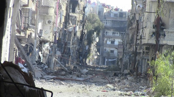 A view of buildings damaged by what activists said were missiles fired by a Syrian Air Force fighter jet loyal to President Bashar al-Assad in Daraya, near Damascus, December 29, 2012. Picture taken December 29, 2012.