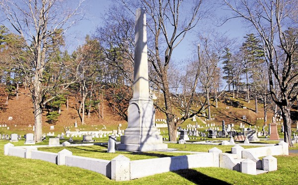 Soon after Army Maj. Stephen Decatur Carpenter was buried at Mount Hope Cemetery, Bangor residents started a fundraising campaign to build a Soldiers' Monument honoring all Bangor men lost during the Civil War. The monument was dedicated at Carpenter's burial site on June 17, 1864. Seventeen years later, his relatives had him relocated to a grave beside his young son's.