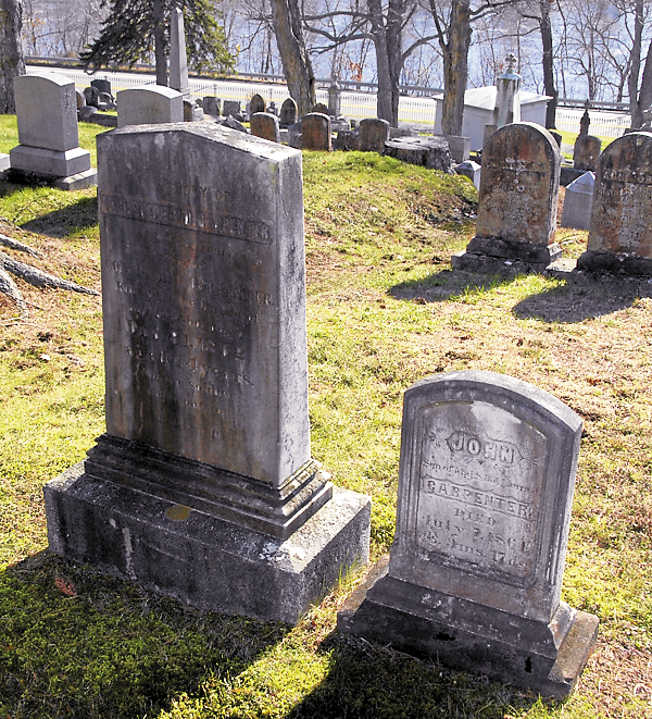 Overlooked in many Maine texts relating to the Civil War was Maj. Stephen Decatur Carpenter, killed while commanding the 9th Infantry Regiment at Murfreesboro, Tenn. on Dec. 31, 1862. Not buried at Mount Hope Cemetery until Feb. 11, 1863, Carpenter now lies beside his 9½-month-old son, John. They are buried not far from William Pitcher.