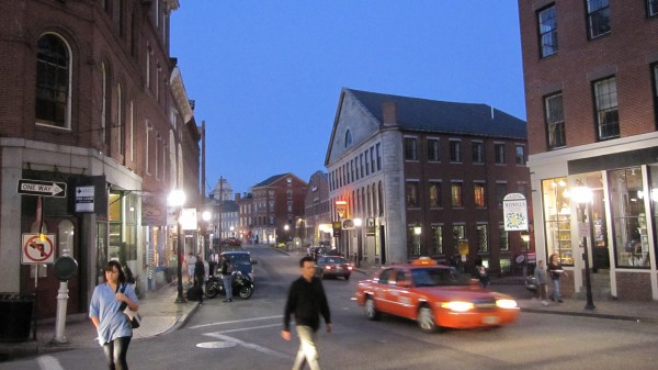 Bricks are heavily featured in the buildings of downtown in Portland, Maine.