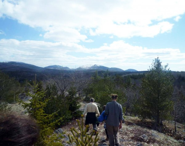 Students begin preliminary explorations of Northeast Creek Watershed from College of the Atlantic's land, The Protectorate.
