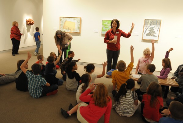 Eva Wagner, education coordinator at the University of Maine Museum of Art, takes a class of third graders from the Downeast School on a tour through the museum.  Director George Kinghorn annouced on Tuesday morning that with Penobscot Financial Advisors as their sponsor, the museum will offer free admission throughout 2013.