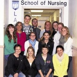 In March 2013, 11 University of Maine nursing students will put their nursing skills to practice when they travel to Belize. Back row (from left): Ciara Gordon-Magro, Nilda Cravens, Joshua Hughes, Aaron Cyr, Alexandra Libby, Allie Collias, Shannon Gusmini, and Melissa McGary; Middle row (from left): Casey Shalkowski, and Sarah Pressley; Front row (from left): Pam Shimmel, Paige Pendarvis, Jennifer Pittis, and Rebecca Stanton.