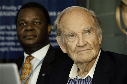 U.S. Sen. George McGovern sits with WFP Country Director Stanlake Samkange in Kampala, Uganda in May 2012. McGovern, 90, former U.S. senator and a Democrat who lost to President Richard Nixon in 1972 in a landslide, died Oct. 21, 2012.