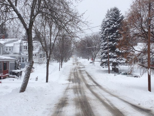 Lincoln Street is covered with a fresh blanket of snow Sunday morning after a second storm in three days hit the Bangor area.