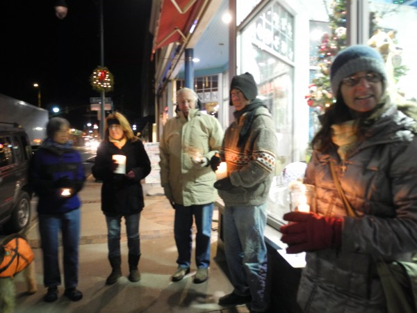 A group of Rockland residents participate Saturday evening in a nationwide vigil against gun violence.
