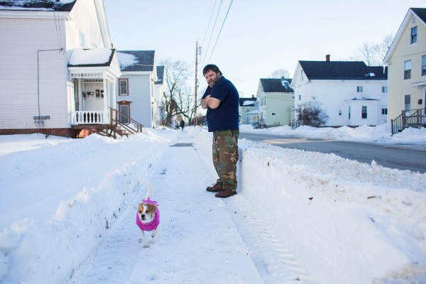 Gus Edgerton lets his sister's dog relieve itself a few blocks away from the site of the fatal stabbing on Elm Street that happened Saturday, Dec. 29. &quotEverybody is kind of shocked something like that happened in this end of town,&quot said Edgerton.