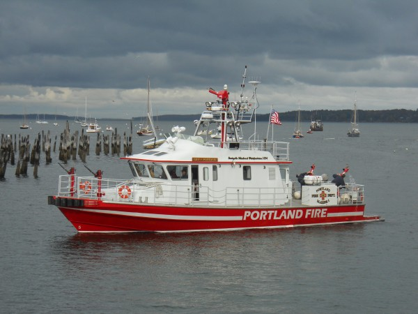 The Portland fireboat floats near the Ocean Gateway Terminal on Oct. 12, 2011, during the ceremonial grand opening of the city's cruise ship Pier II.