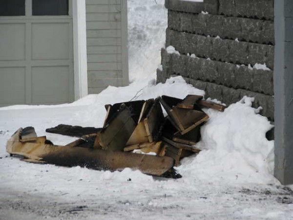 Mexico and Rumford firefighters called to a possible structure fire at 50 Cross St. in Mexico late Thursday morning learned that a kerosene heater being used to thaw frozen pipes caught the basement stairs on fire. Firefighters piled the charred remnants outside the basement.