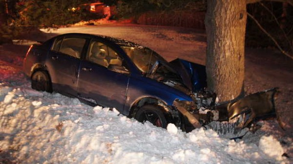 A 2006 Saturn Ion driven by a 17-year-old boy from Sumner left Route 117 in Buckfield on Monday night, Jan. 7, 2013. The driver suffered a concussion, police said, and a 3-month-old passenger was not injured.