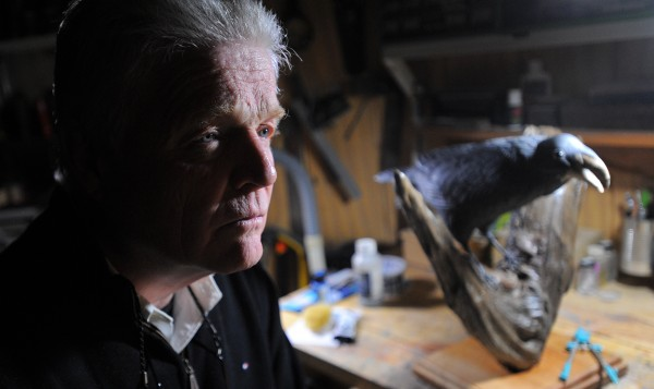 Holden artist Claude O'Donnell says a bird sculpture he made was damaged when he slammed on his breaks to avoid hitting a vehicle that cut him off.