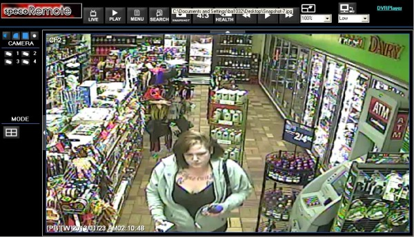 This security video image, taken from a Bangor convenience store, shows Tarra Norton, 29, of Bangor, the night she allegedly took a cab from Bangor to Deer Isle and skipped out on the $150 fare. Norton was charged Thursday with theft of services.