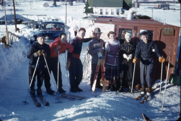 In the 1950s, the Pelletier Ski Hill just outside of Fort Kent was a popular winter destination for area families. Members of the Pelletier family take a break before hitting what was regarded as one of the steepest pitched ski runs in Maine.