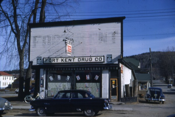 The old Fort Kent Drug Store stood on the corner of Main and Hall streets.
