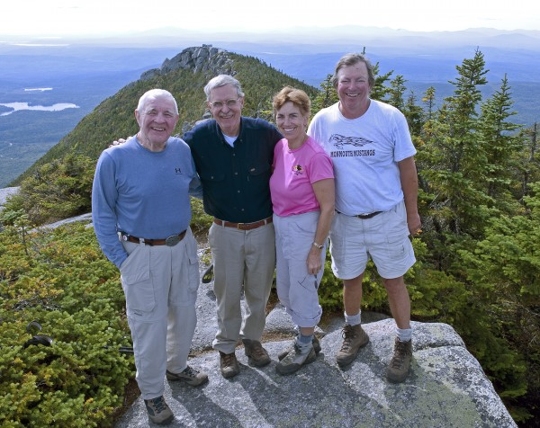 (From left) John Neff and Howard Whitcomb, authors of the 2012 book &quotBaxter State Park and Katahdin,&quot stand beside Friends of Baxter State Park President Barbara Bentley and FBSP member Ray Anderson on Doubletop Mountain in Baxter State Park during September 2009 during a FBSP outing. The nonprofit organization organizes several of these outings, which they call &quotWalks in the Park,&quot every year for organization members.