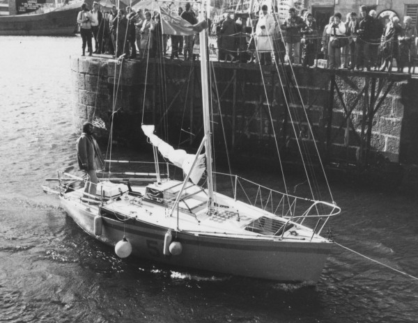 Lamoine resident Steve Callahan stands on the stern of Napoleon Solo as it departs the English port of Penzance in 1981.
