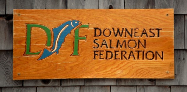 Downeast Salmon Federation sign at their Columbia Falls hatchery.