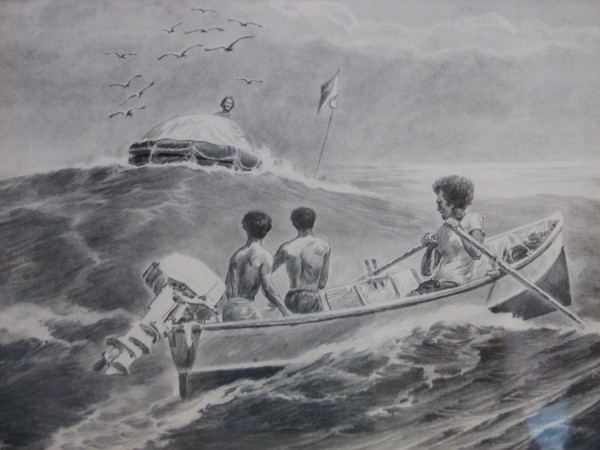 An artistic rendering of Steve Callahan being rescued off the Caribbean island of Marie Galante in 1982.