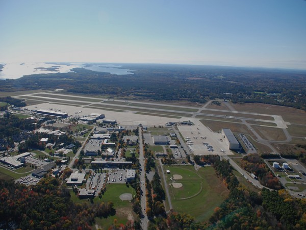 An aerial photo of the former site of the Brunswick Naval Air Station.