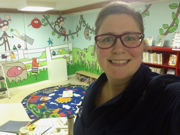 Machias artist Becky Lee painted six panels, each 4 feet wide and 7 feet tall, to create a mural for the children's room of the Porter Memorial Library in Machias.