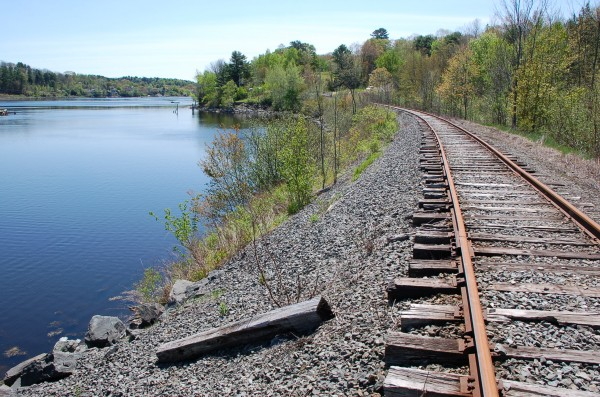 A view south along the former Belfast & Moosehead Lake Railroad line. The Belfast City Council is considering building a pedestrian walkway along the rail line.