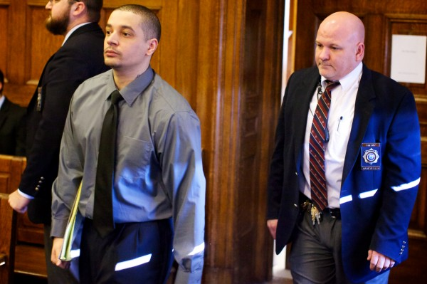 Defendant Joel Hayden arrives in court before opening arguments in his double murder trial in Portland on Monday, Jan. 7, 2013.