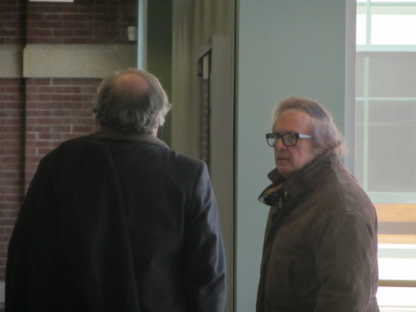 Don McLean (right) went to pay his $400 speeding ticket Thursday after his trial in Rockland District Court. His attorney Paul Gibbons (left) represented him at the hearing.