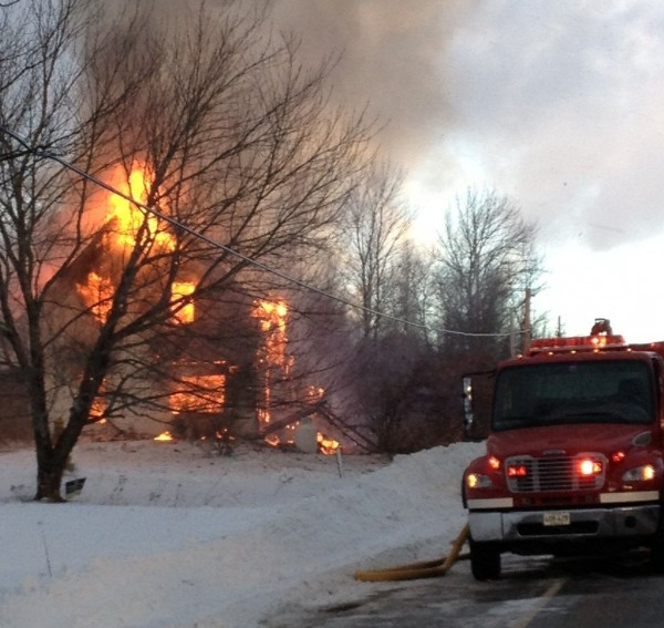 Fire destroyed a home in the Washington County town of Waite around 7 a.m. Saturday, Jan. 5, 2012. Crews responded from Indian Township, Princeton, Topsfield, Grand Lake Stream and Baring.