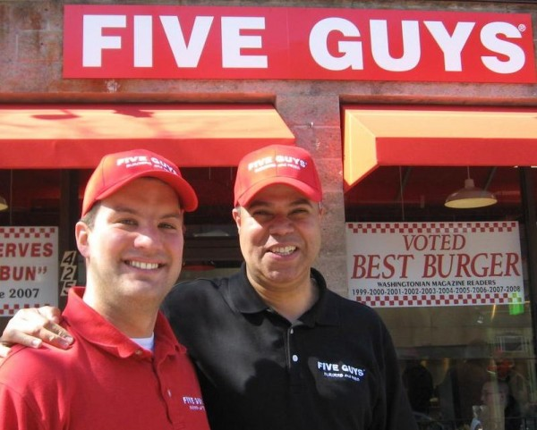 Gene Prentice (left) and Jamal Bourote, pictured here in a 2011 Forecaster file photo, own more than 30 Five Guys Burgers and Fries franchises in Maine, Massachusetts and Rhode Island, including one on Fore Street in Portland and others planned for Bangor and South Portland.
