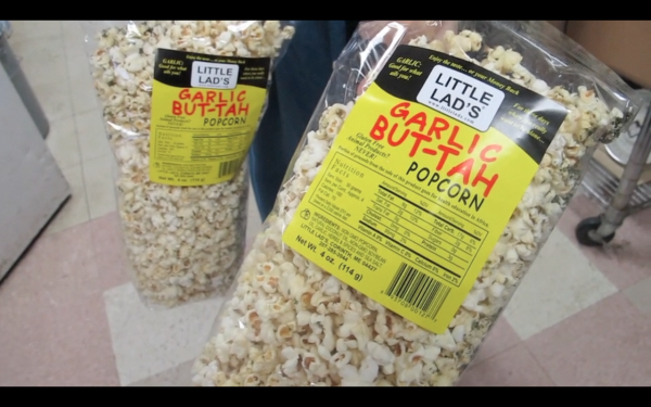 Little Lad's latest popcorn, Garlic But-Tah variety.