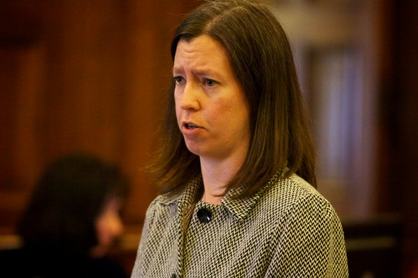 Defense attorney Sarah Churchill presents her opening arguments in the Joel Hayden double murder trial in Portland Monday, Jan. 7, 2013.